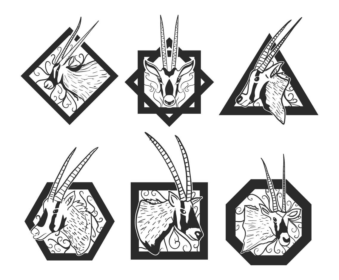 Oryx logo design set.
