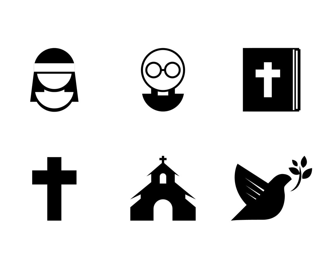 Nun Religion Christianism Icons Vector