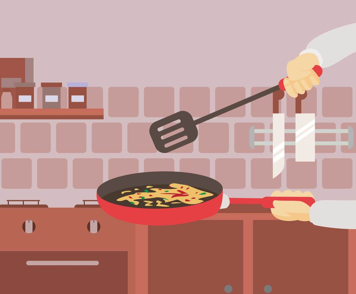 Free Chef Cooking Use Pan Illustration
