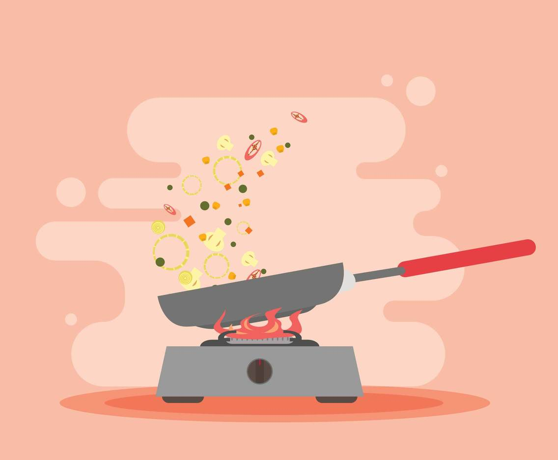 Free Stir Pan With Stove Illustration