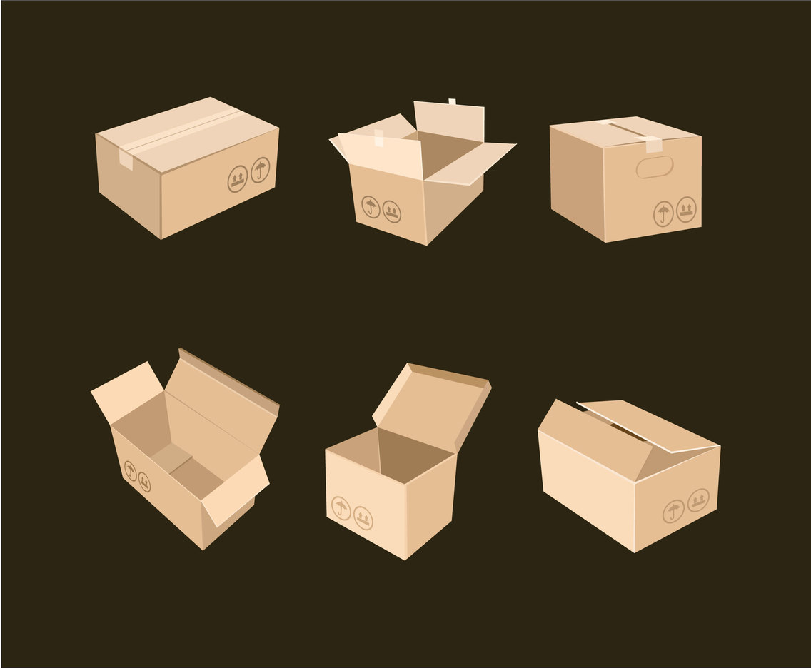 Simple Carton Boxes Vector