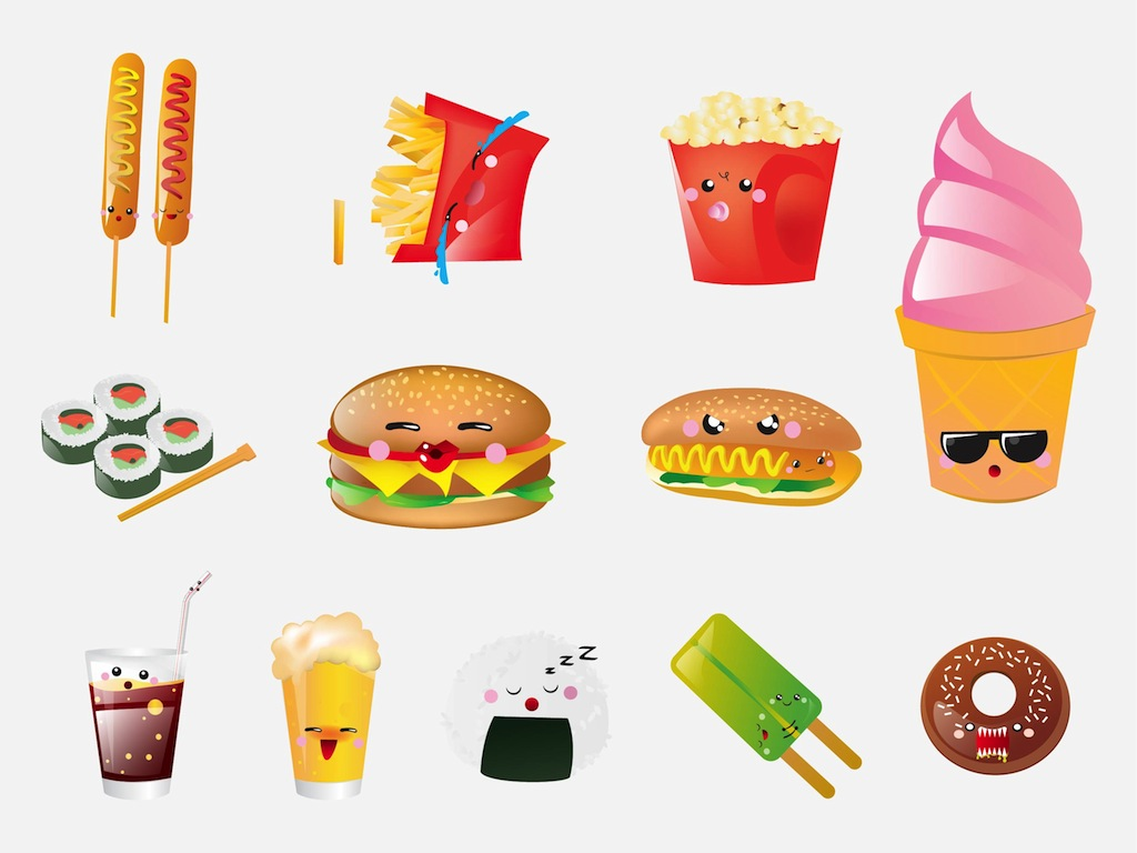 cartoon food cartoons fast foods faces cute vector animated vectors drawings freevector animation icons ice cream yummy graphics dessert easy