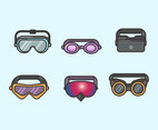 Types of Goggles Vector in Thick Lines