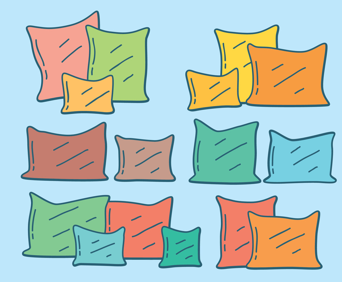 Colorful Pillow On Blue Vector