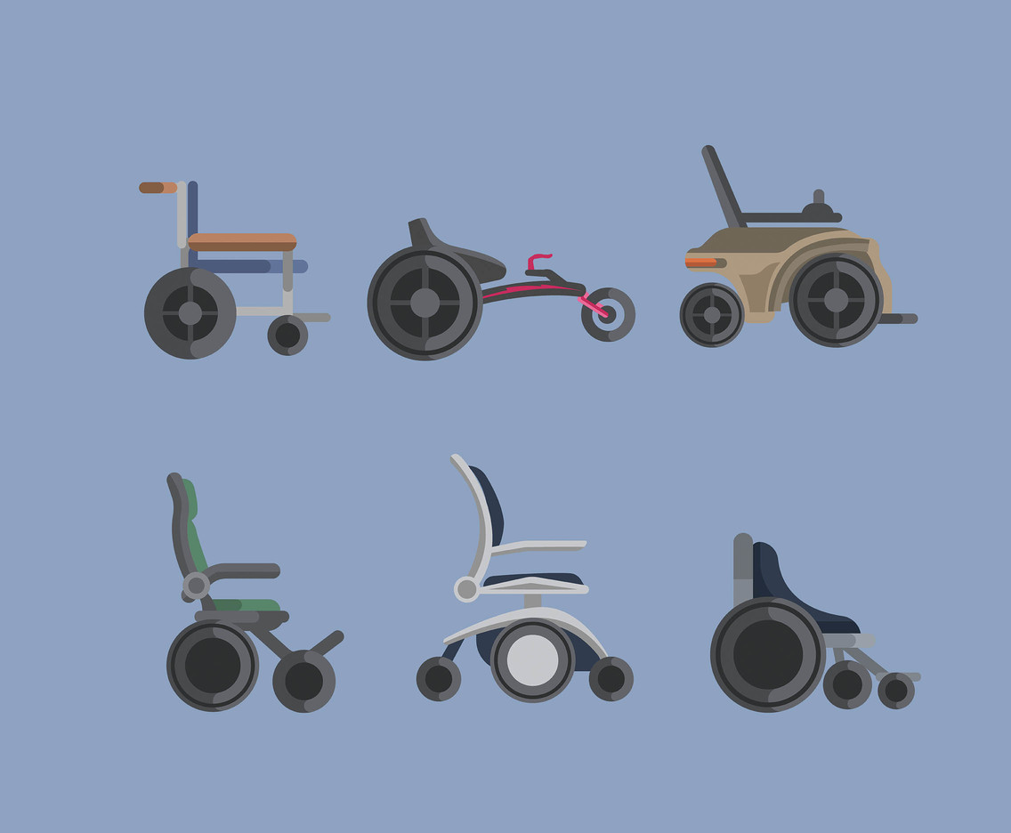 Types of Wheelchair Vector in Flat Design