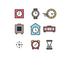 Outlined Icons About Clocks