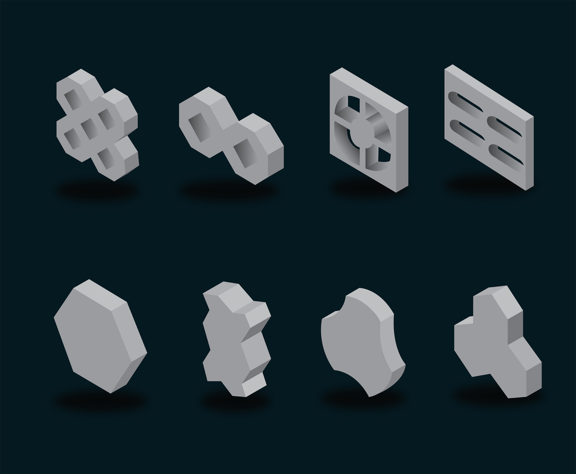 Concrete Block Vector Pack
