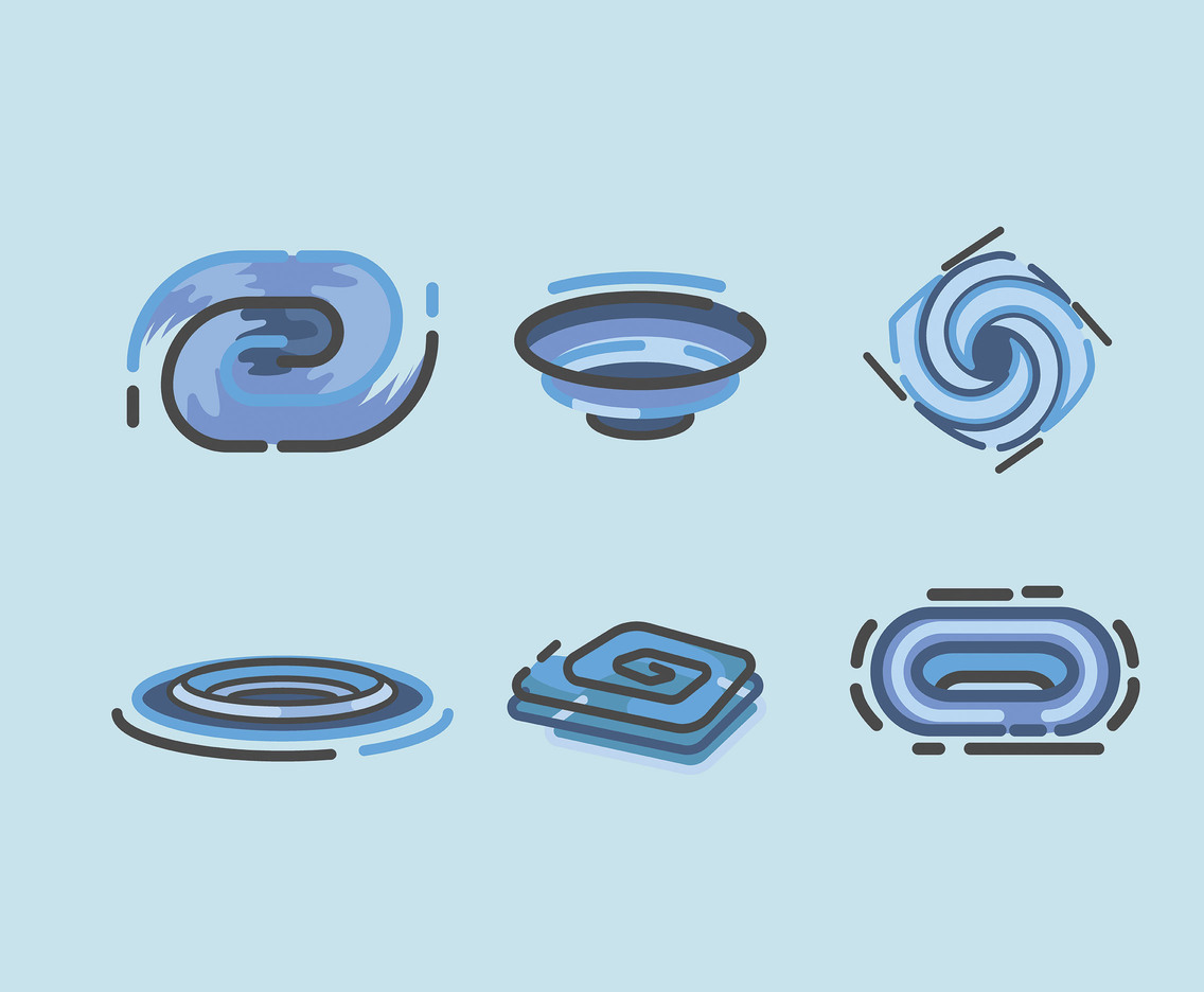 Whirlpool Vector in Blue Background