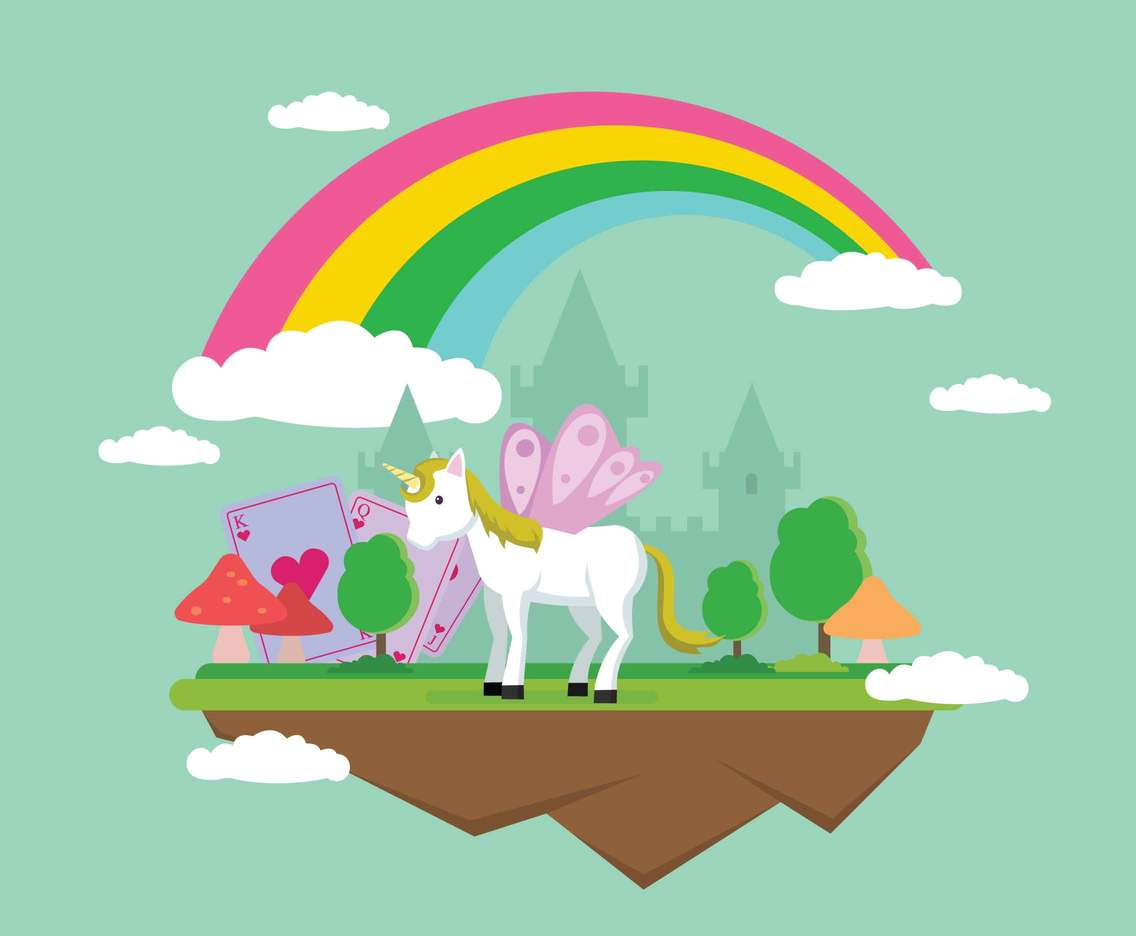 Free Wonderland with unicorn Illustration