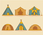 Camping Tent Dome Collection Vector