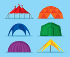 Colored Tents Dome Collection Vector