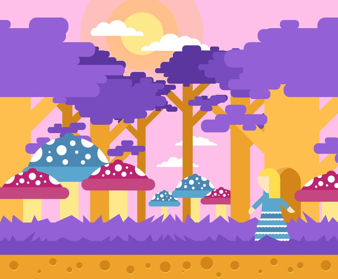Wonderland Alice Landscape Background Flat Illustration Vector