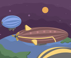 Airship in the Night Sky Vector