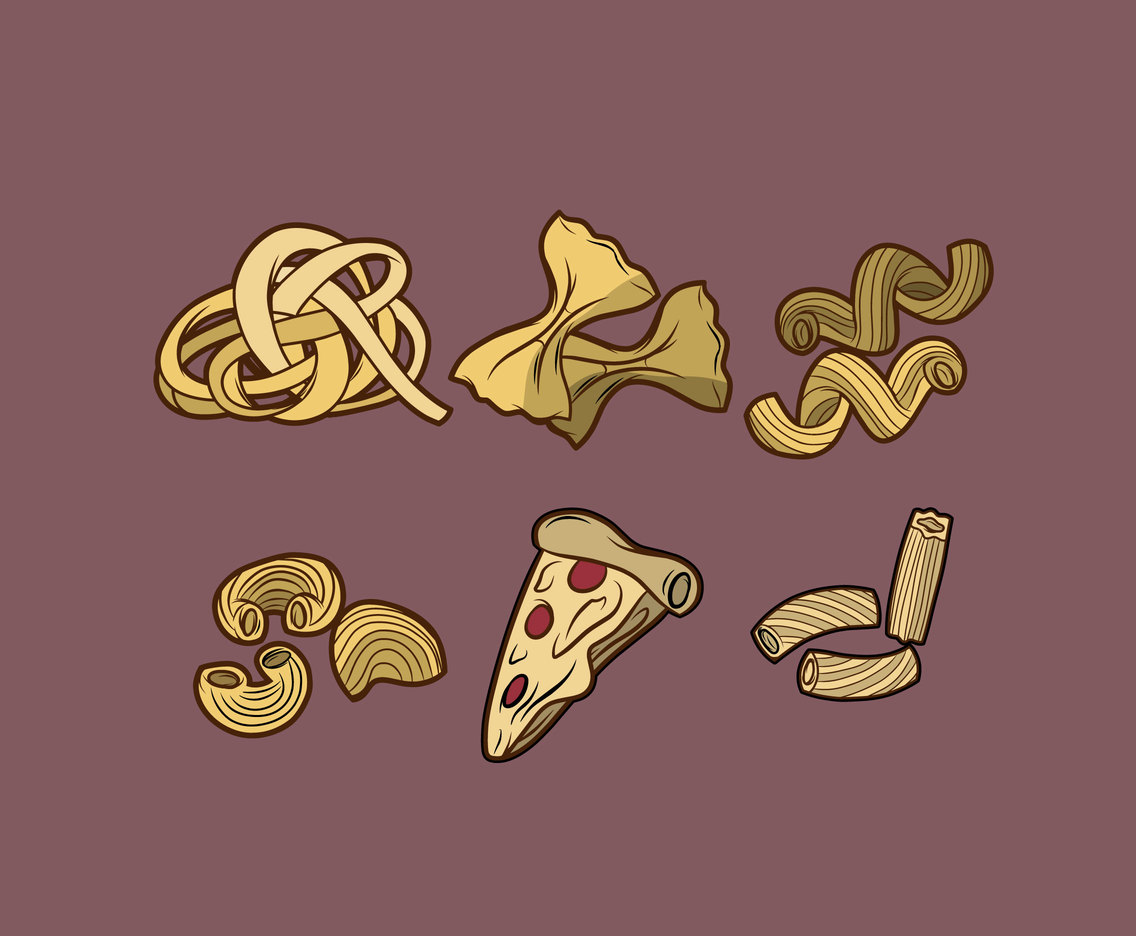 Various Pasta and Pizza Vector