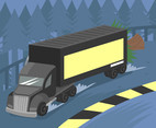 Black 18 Wheeler Vector