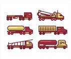 18 Wheeler Truck Vector in Thick Lines