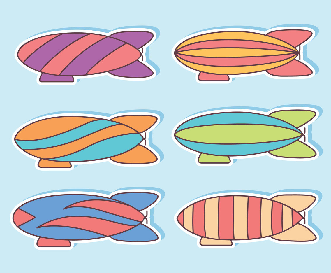 Colorful Airship Collection Vector