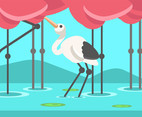 Stork in Pond Vector