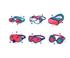 Types of Goggles Vector
