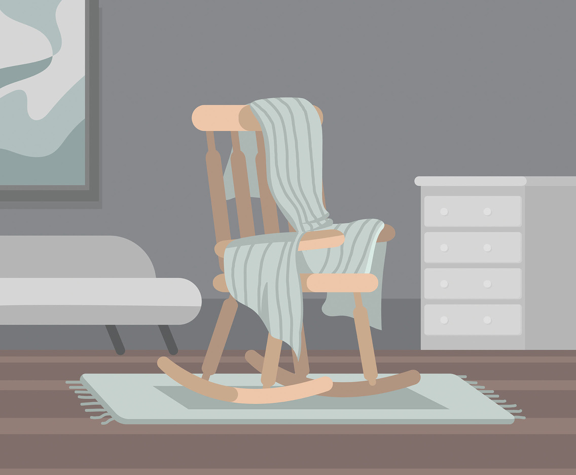 Blanket on Rocking Chair Vector