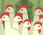 Flock of Chickens Vector