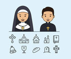 Catholic Priest And Nun With Icons