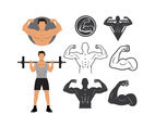 Man Flexing Muscle With Silhouette Icons