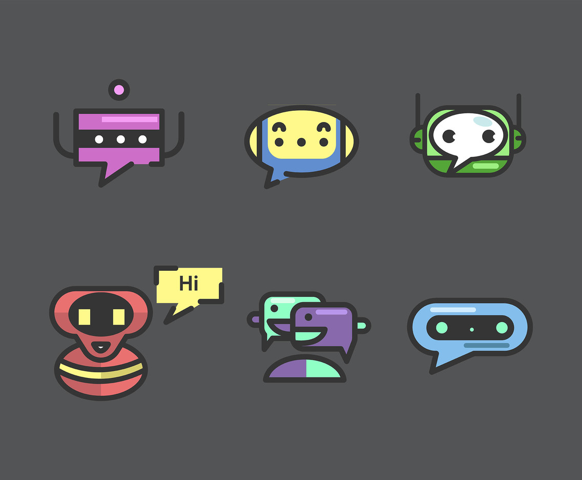 Chatbot Vector in Gray Background