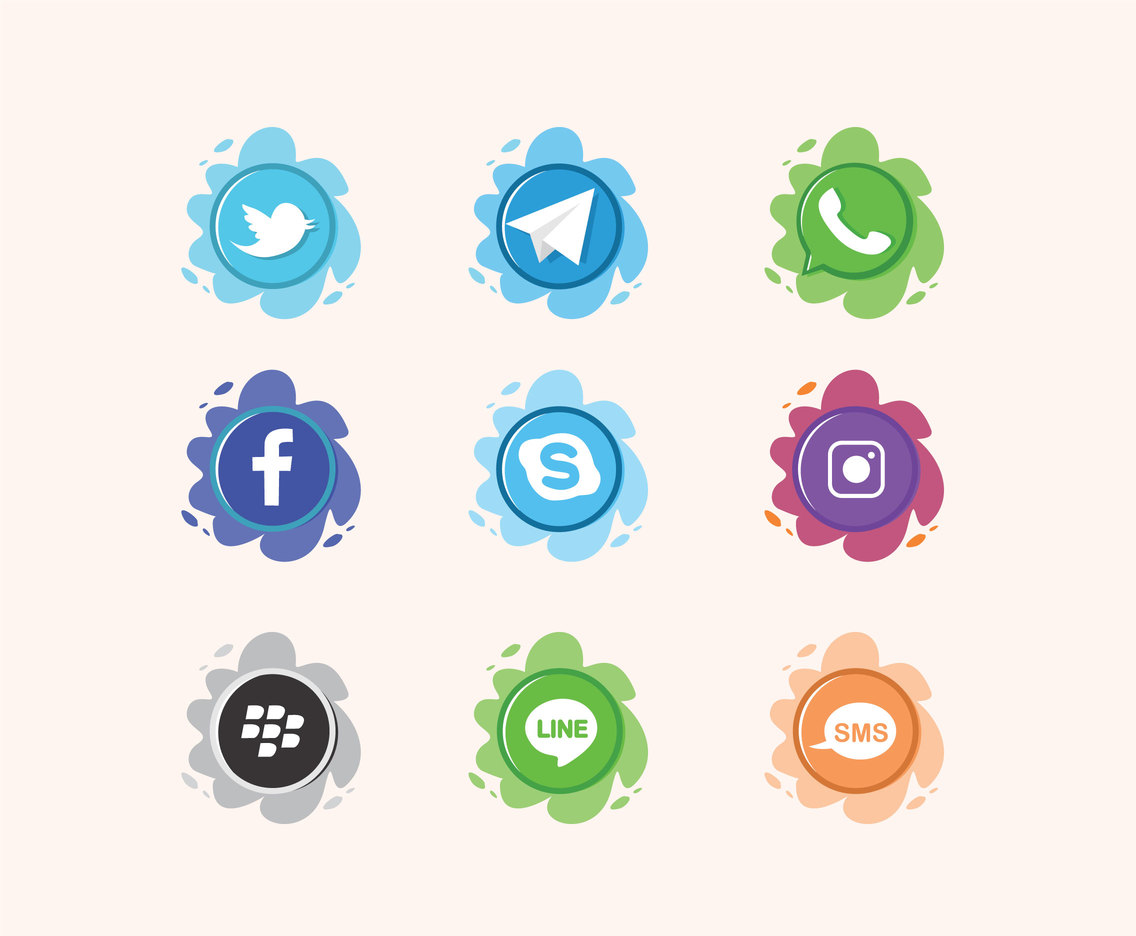 Splashy Social Icons Vector