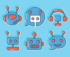 Chatbot Collection On Blue Vector