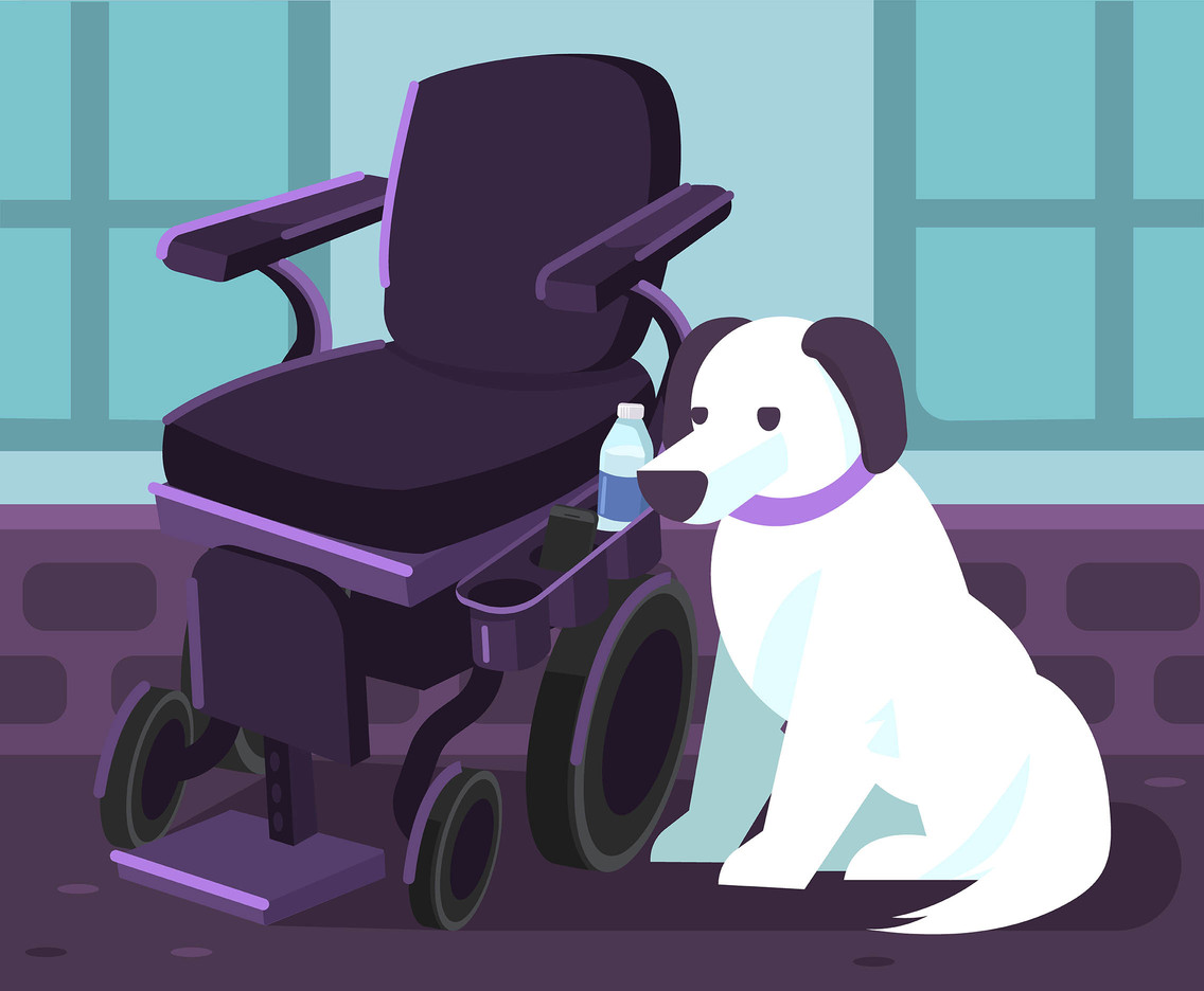 Wheelchair and Dog Vector