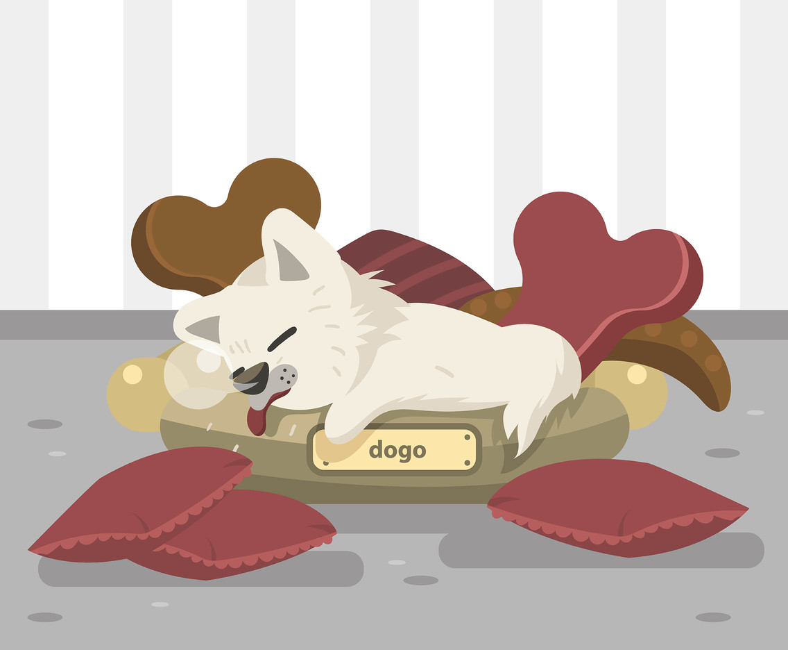 Pillow and Dog Vector