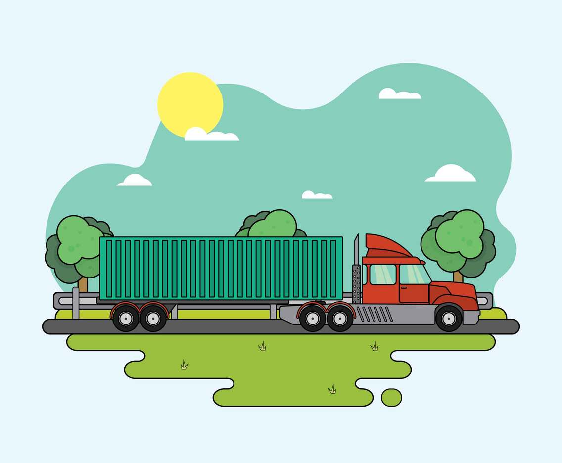 Green landscape with road And Moving 18 Wheeler Truck Illustration
