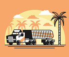 18 Wheeler Vector in Orange Background