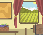 Vineyard Window View Vector