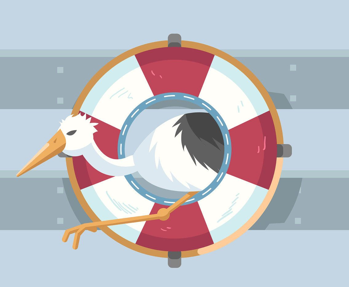 Stork in Lifebuoy Vector