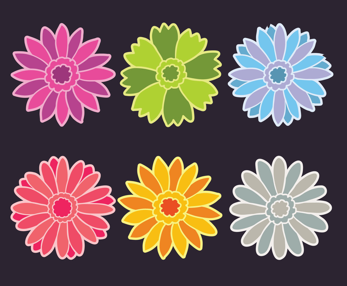 Colored Gerbera Flowers Vector