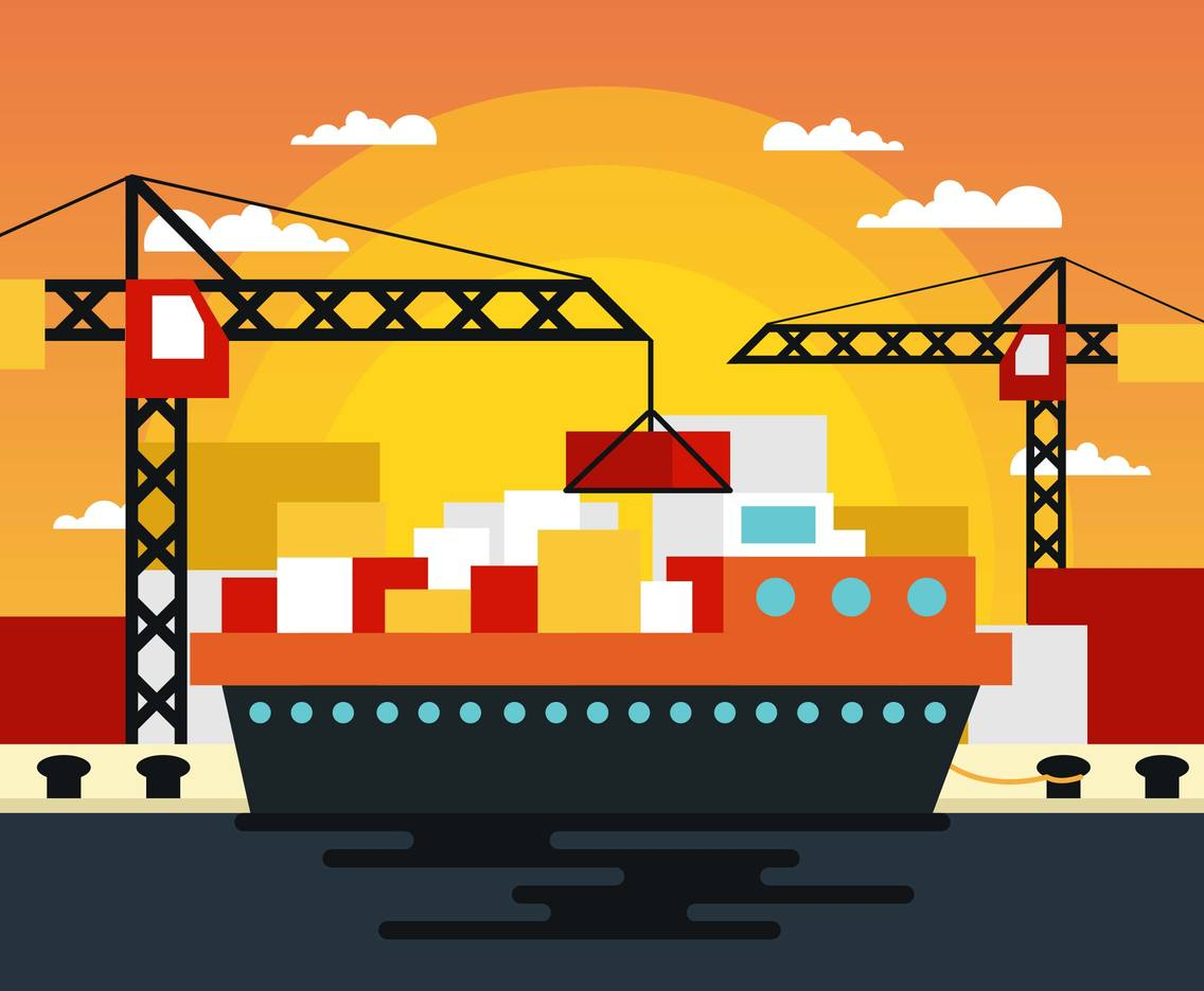 Dock Ship Landscape Flat Illustration Vector