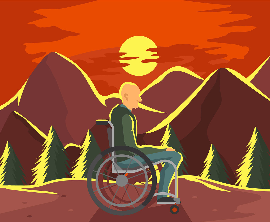 Wheelchair and Sunset Vector