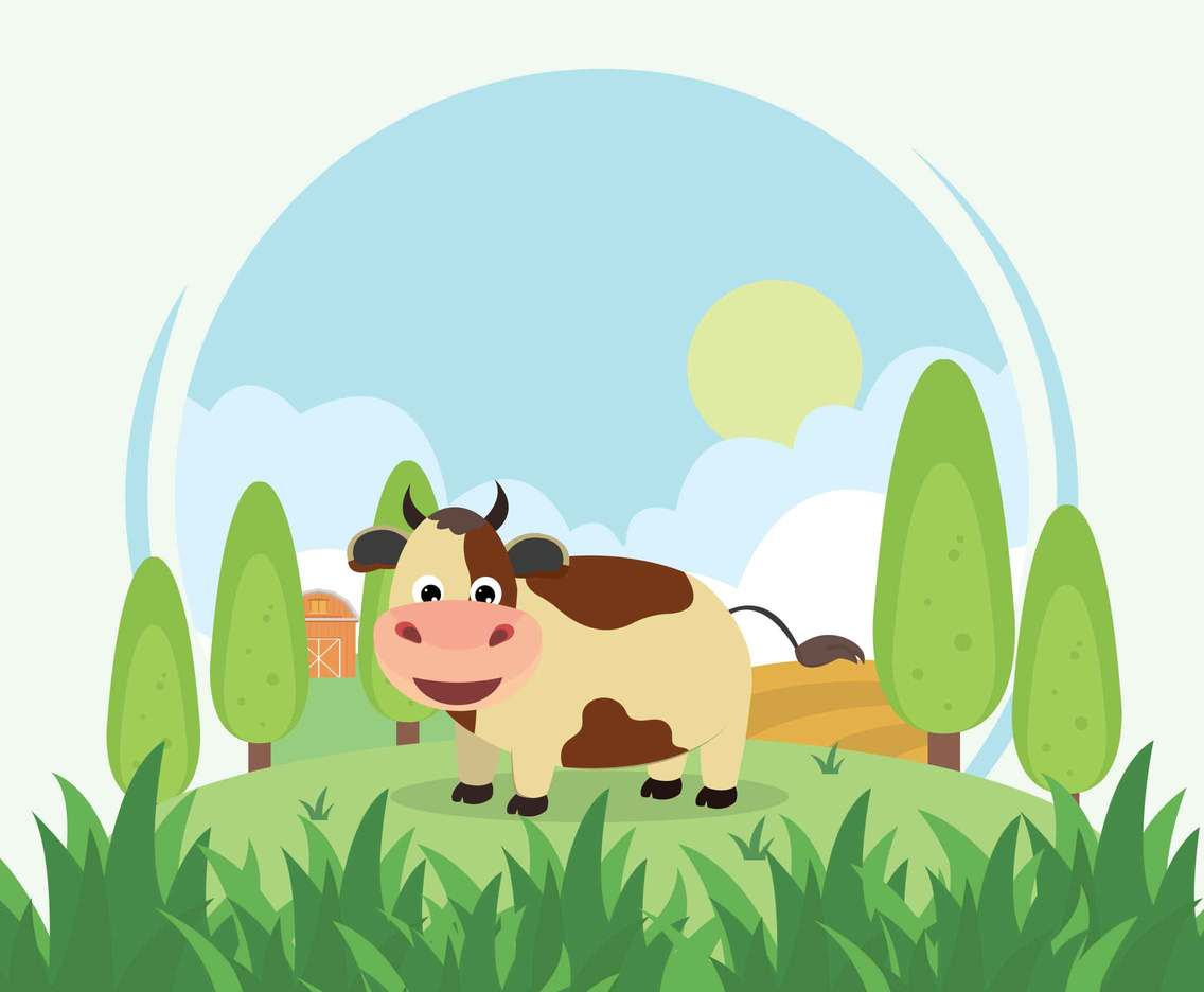 Calf On Farm Illustration