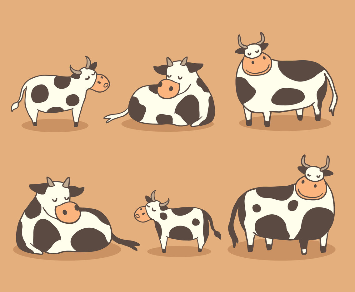 Cute Cow And Calf Collection Vector