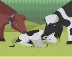 Calf in Pasture Vector