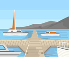 Dock and Sailboat Vector