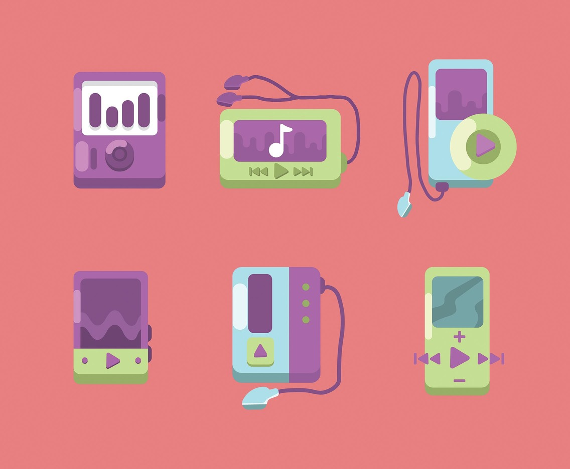 Flat Design Mp4 Player Vector