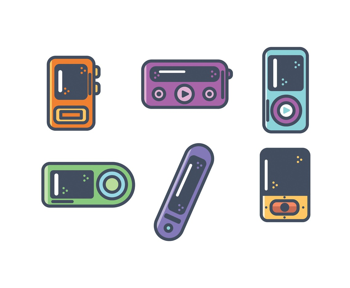 Thick Line Mp4 Player Vector