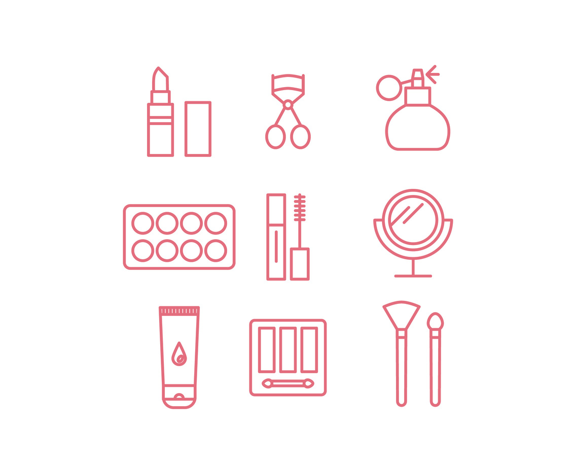 Pink Outlined Make-Up Icons
