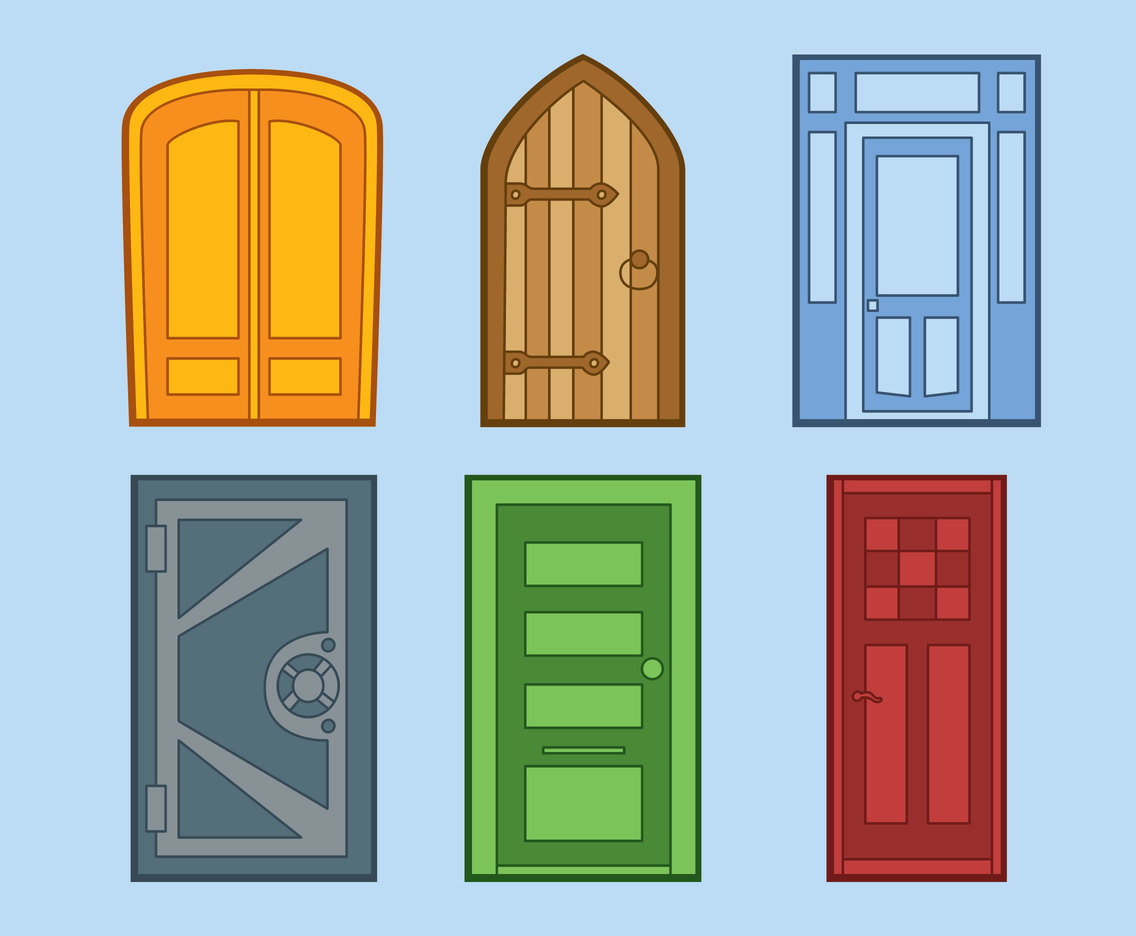 Colored Door Entrance Collection Vector
