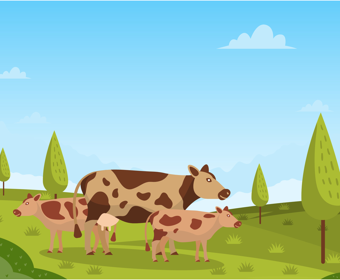 A Mother Cow And Two Calf