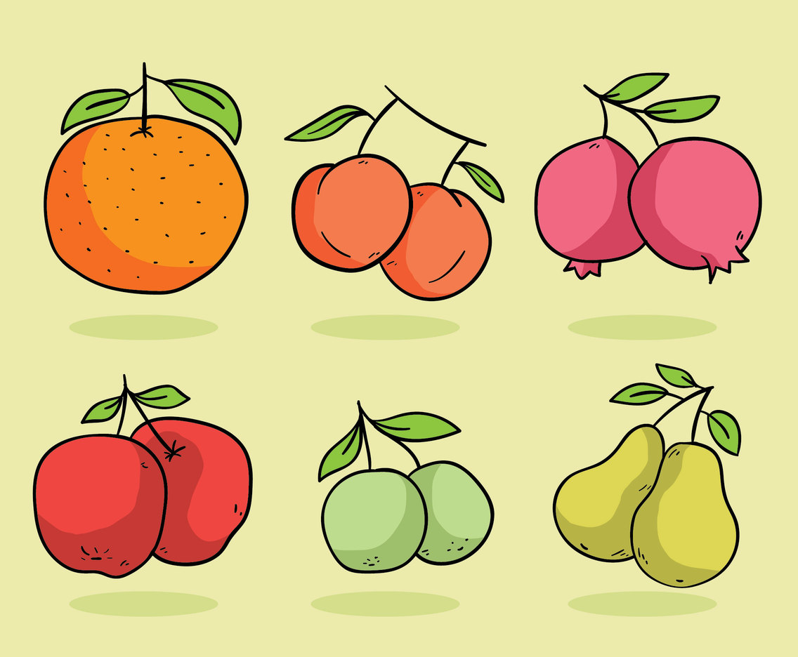 Cartoon Fruit Collection Vector