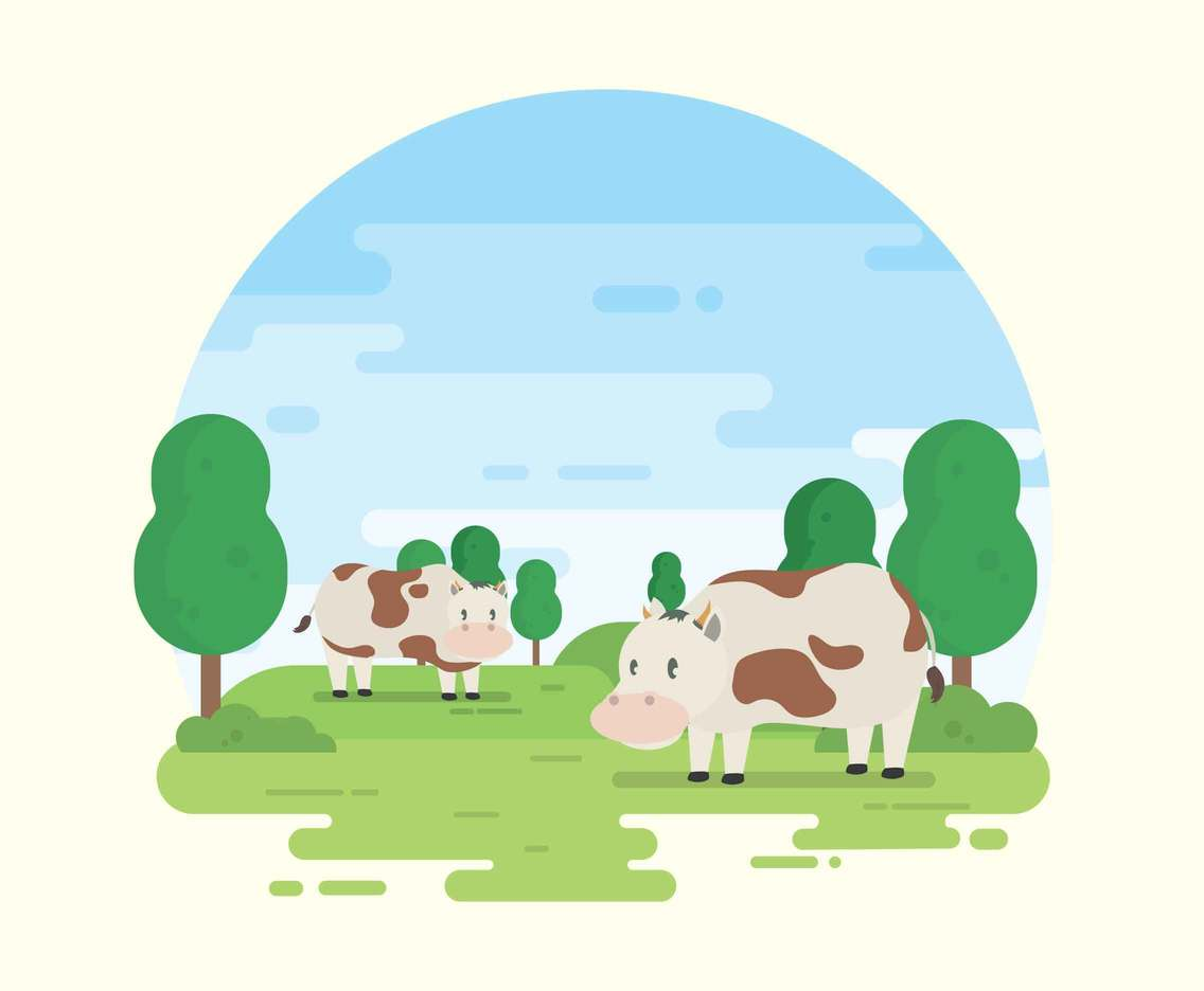 Two Calf On Green Landscape Illustration